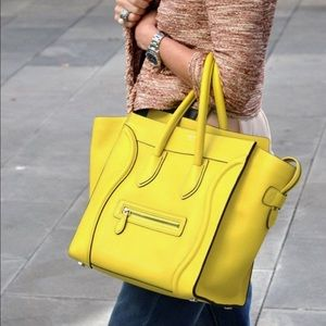 Celine yellow mini luggage purse